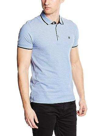 Jack and Jones Men's Paulos Plain Short Sleeve Polo Shirt, Blue (Bright  Cobalt)