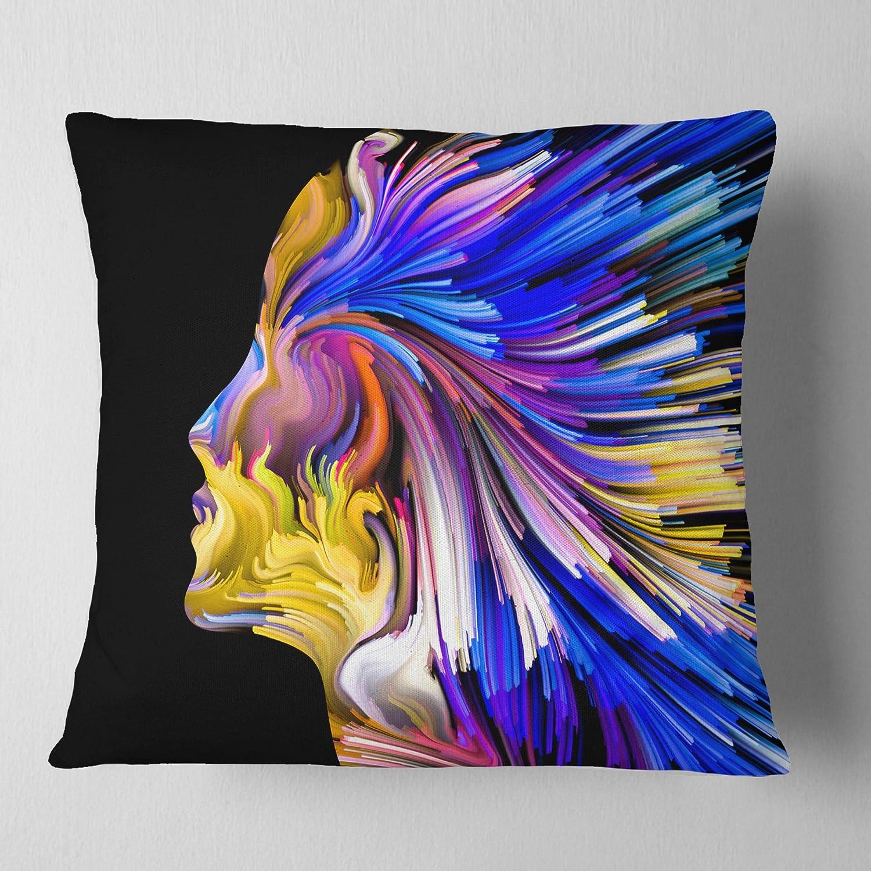 16 x 16 Designart CU6117-16-16 Imagination in Blue Abstract Throw Pillow