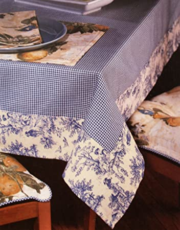 Wonderful Waverly Oblong Tablecloth Gingham Blue Toile Fabric