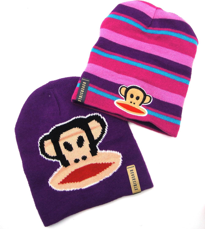 Paul Frank Julius Monkey Glue Print Reversible Beanie Hat Kids Toddles Girls