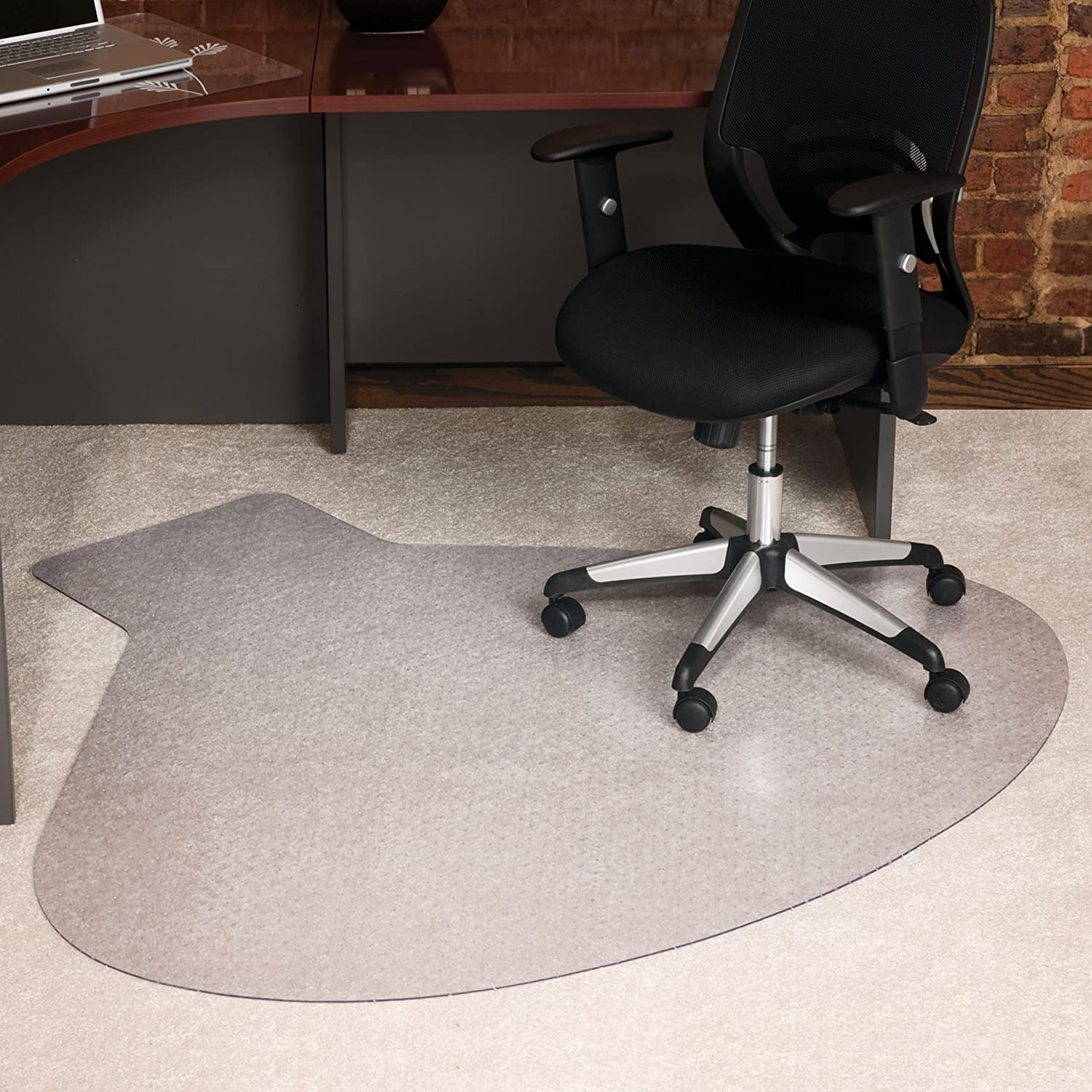 "ES Robbins Medium Pile Carpet Chair Mat, 66""x60"", Clear"