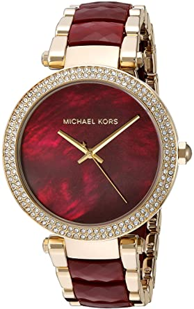 6dbefe9aa Amazon.com: Michael Kors Women's Parker Red and Gold Watch MK6427 ...