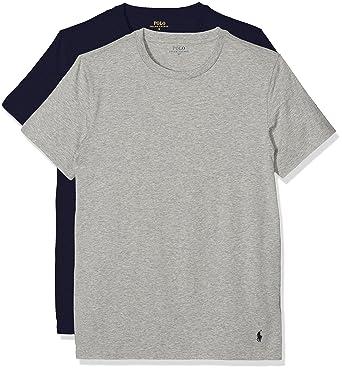 Polo Ralph Lauren 2PK Short Sleeve Crew, sous-vêtement de Sport Homme,  Mehrfarbig (CR NVY and HTR V9p16), Medium (Lot de 2)  Amazon.fr  Vêtements  et ... 8a1ffdff33d3