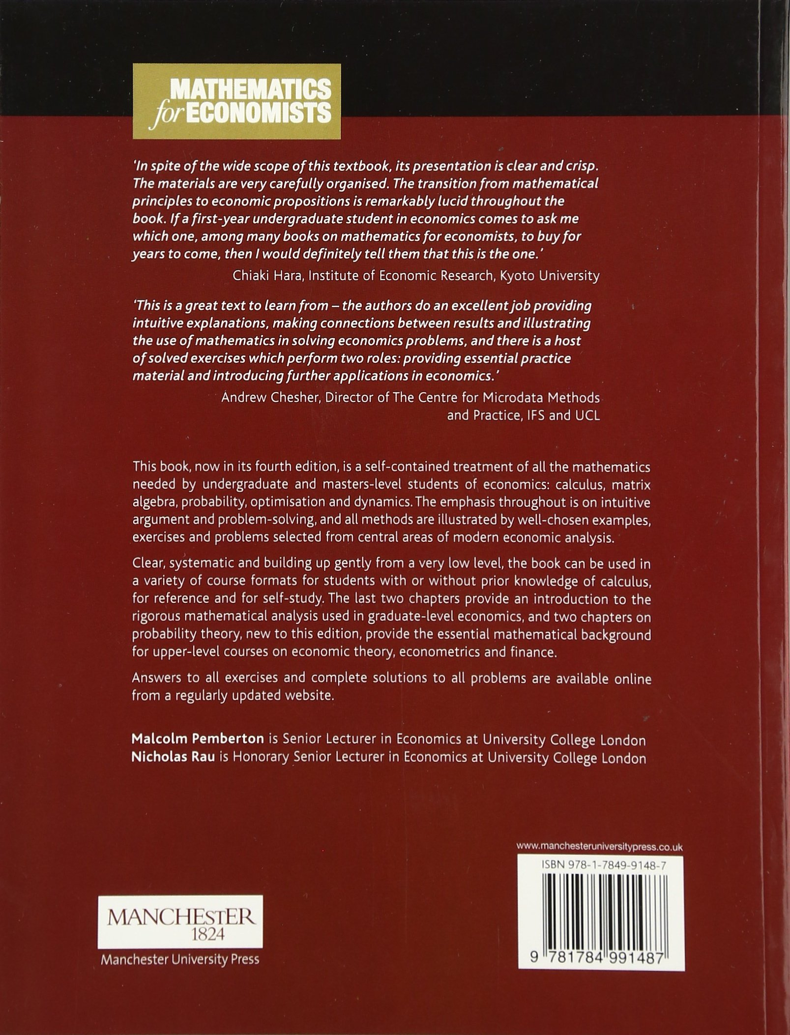 Mathematics for economists an introductory textbook amazon mathematics for economists an introductory textbook amazon malcolm pemberton nicholas rau 9781784991487 books fandeluxe Gallery