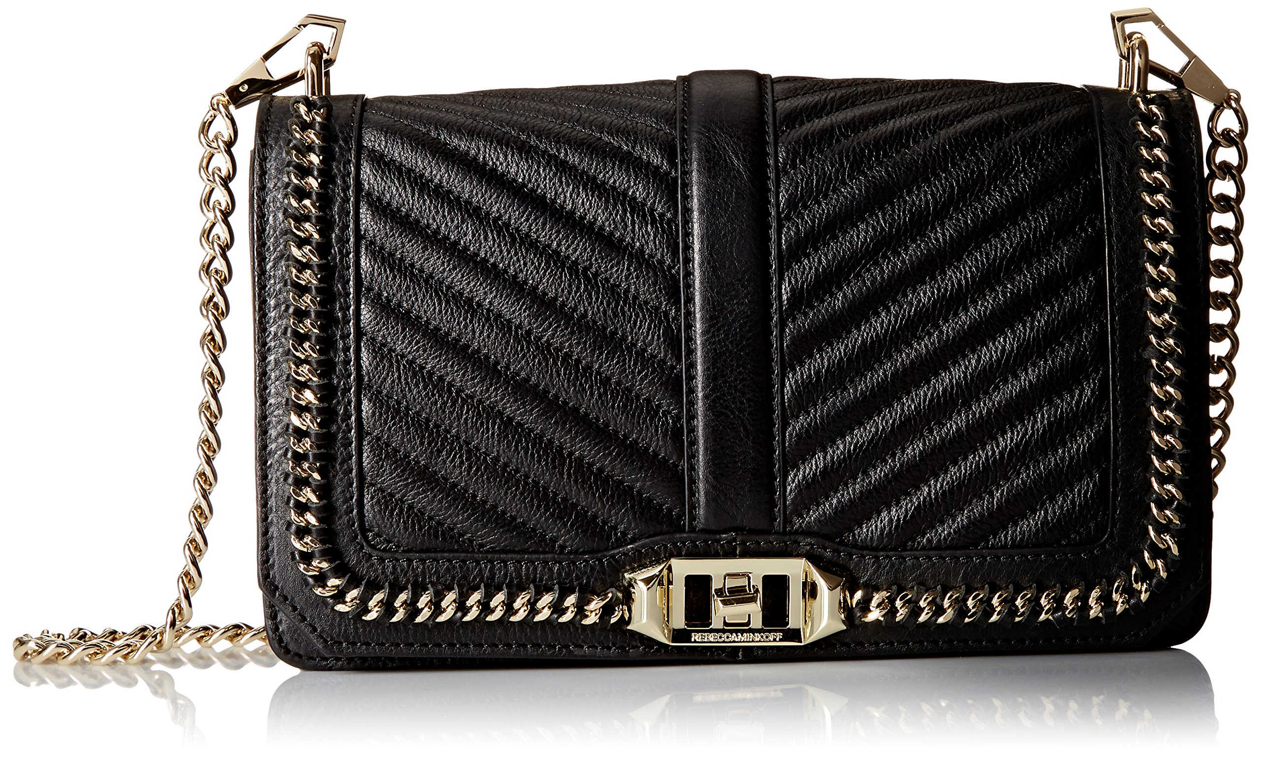 Rebecca Minkoff Love Crossbody Chevron Chain Shoulder Bag, Black, One Size