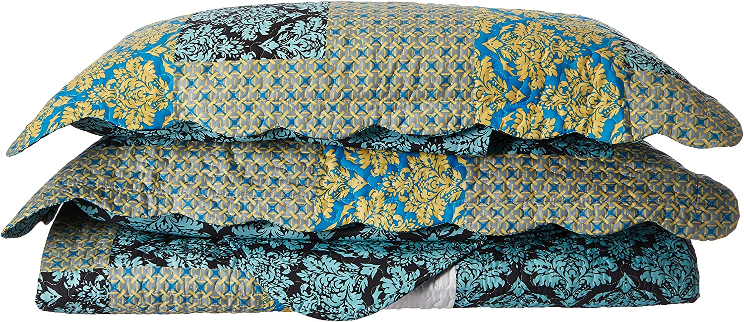 Tache Home Fashion SD3300-Full Tache 3 Piece Fall Damask Turquoise Reversible Bedspread Quilt Set, Full