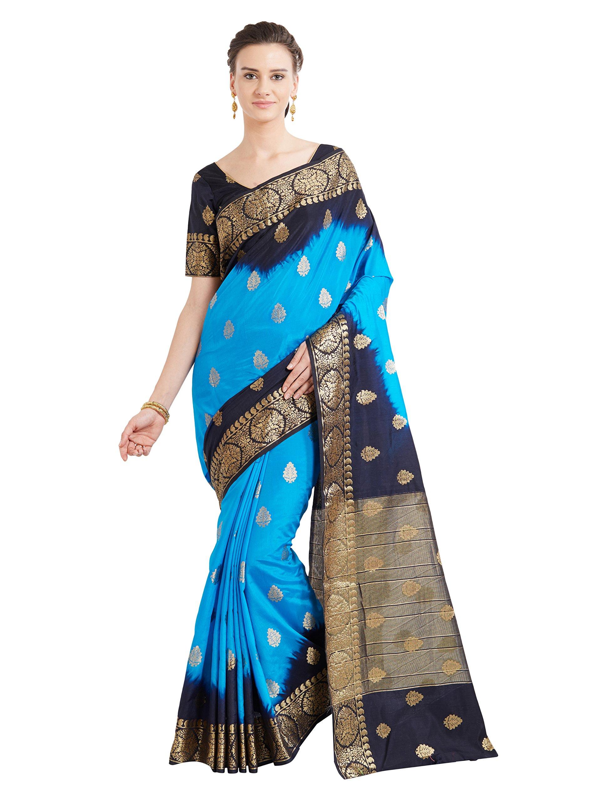 Viva N Diva Sarees for Women's Banarasi Latest Design Party Wear Shaded Blue Colour Banarasi Art Silk Saree with Un-Stiched Blouse Piece,Free Size
