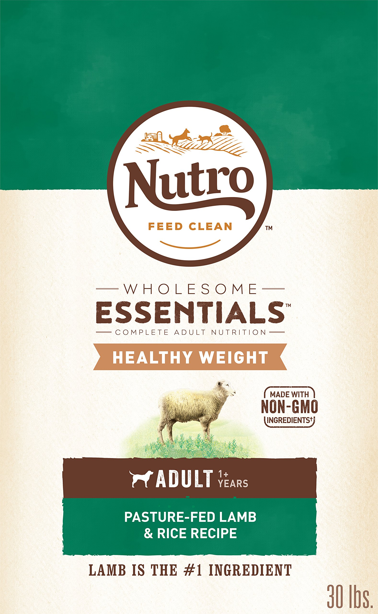 Nutro Wholesome Essentials Healthy Weight Adult Dry Dog Food Pasture-Fed Lamb & Rice Recipe, 30 lb. Bag by Nutro
