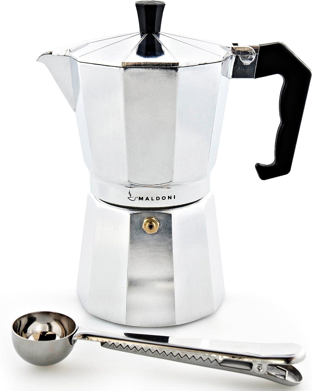 Cafetera italiana por maldoni: hornillo, de café cafetera eléctrica con diseño de maceta de diseño italiano – 6 Copa de aluminio caldera máquina para cappuccino y para hacer espuma de – viene