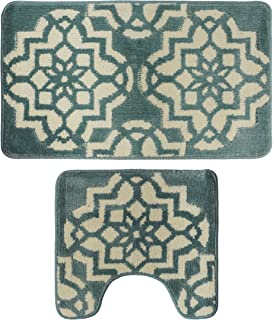 Yu0026K Decor Bathroom 2 Pieces Bath Rug Pedestal Mat Set Contour and bath mat  Aqua Beige