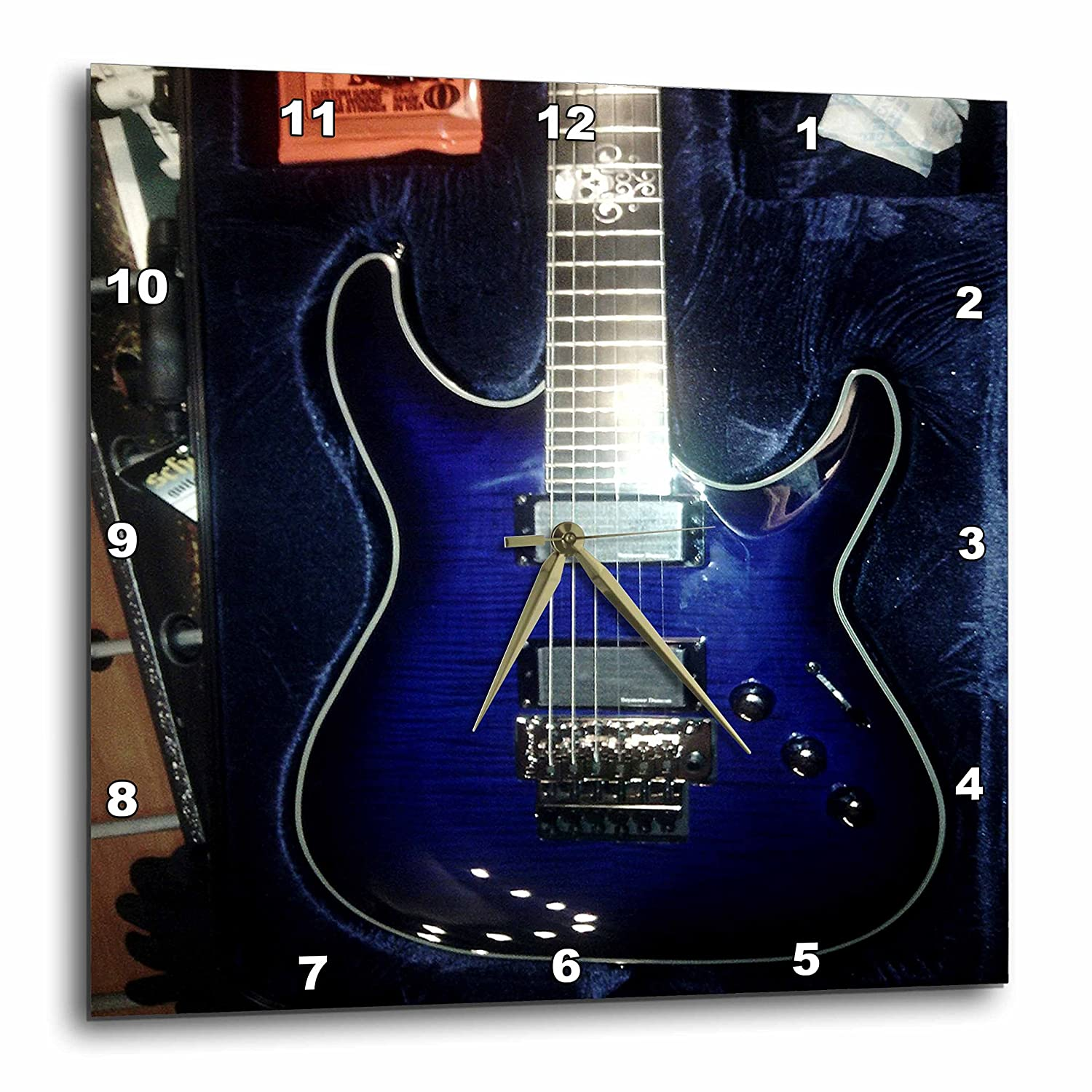 3dRose Print of Blue Electric Guitar with Chrome Skull DPP/_194734/_2 13 by 13-Inch Wall Clock