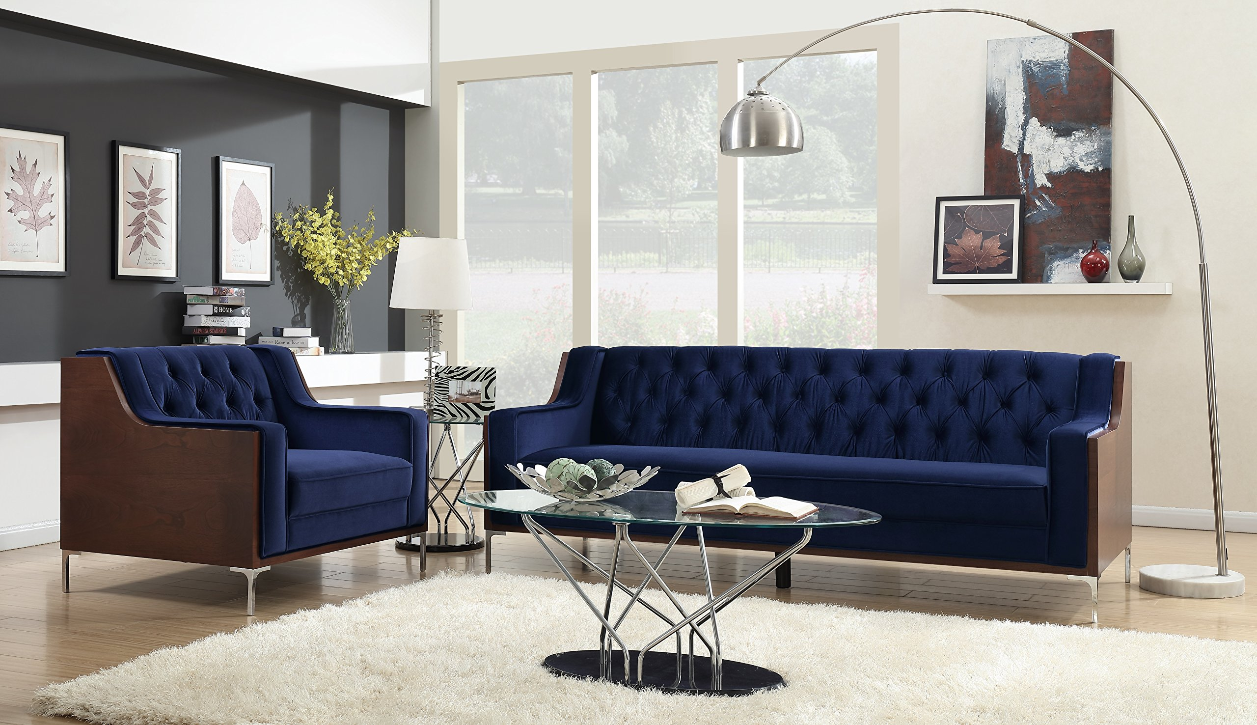 Iconic Home Clark Sofa Button Tufted Velvet Walnut Finish Swoop Arm Wood Frame with Polished Metal Legs, Modern Contemporary, Navy by Iconic Home (Image #2)