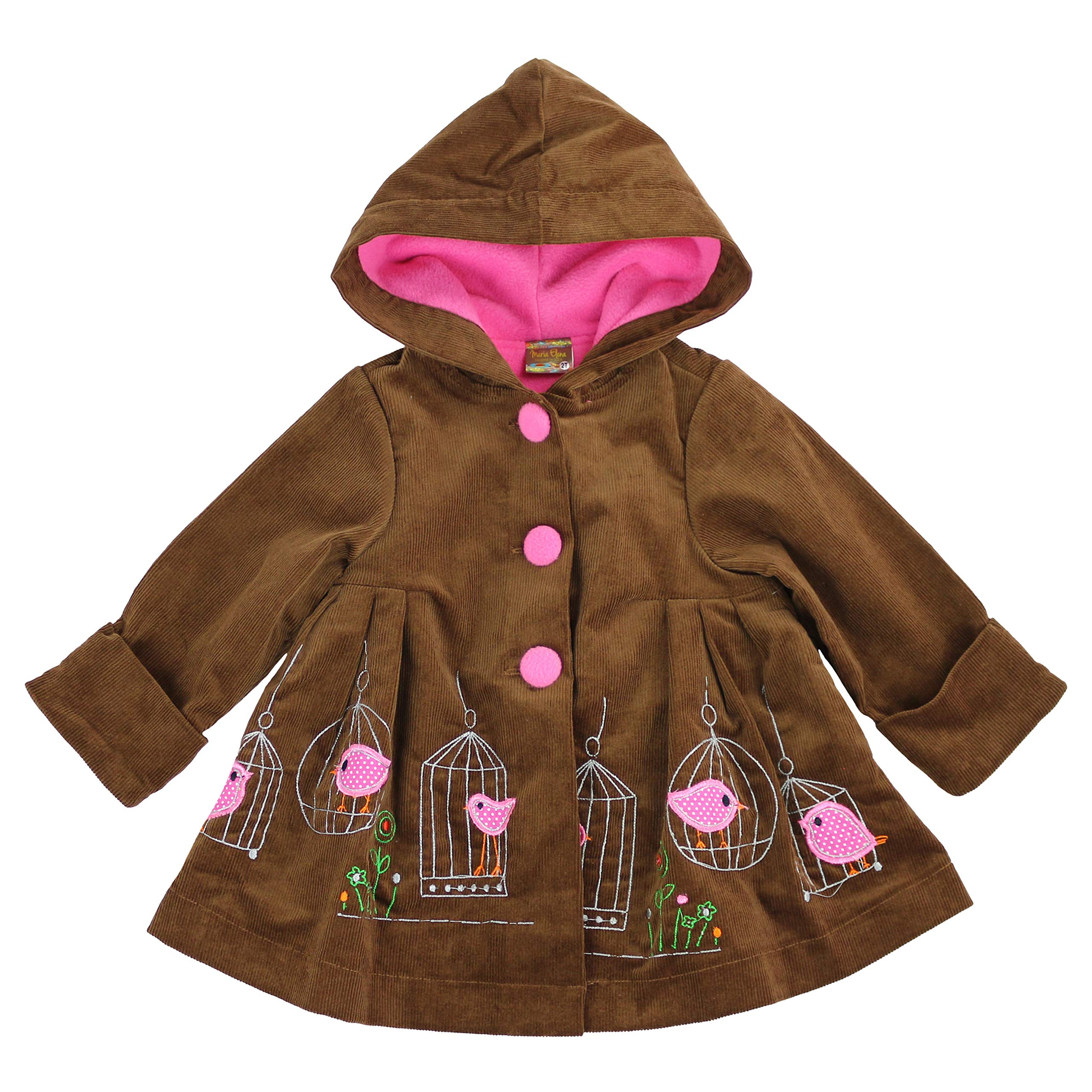 Maria Elena - Toddlers and Girls Vintage Imperial Birdcage Corduroy Swing Coat in Brown-Pink 6
