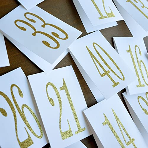 amazon com table numbers 1 40 table number tent gold glitter