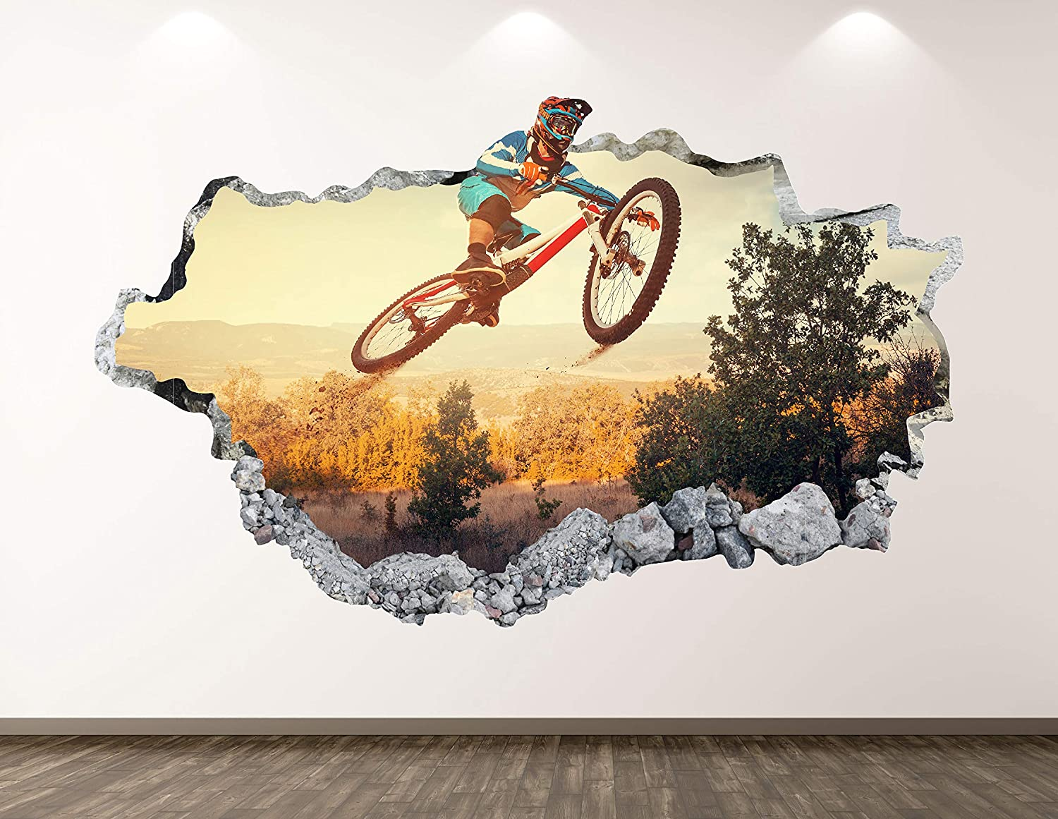 """Off Road Bike Wall Decal Art Decor 3D Smashed Mountain Bicycle Sticker Poster Kids Room Mural Custom Gift BL209 (22"""" W x 14"""" H)"""
