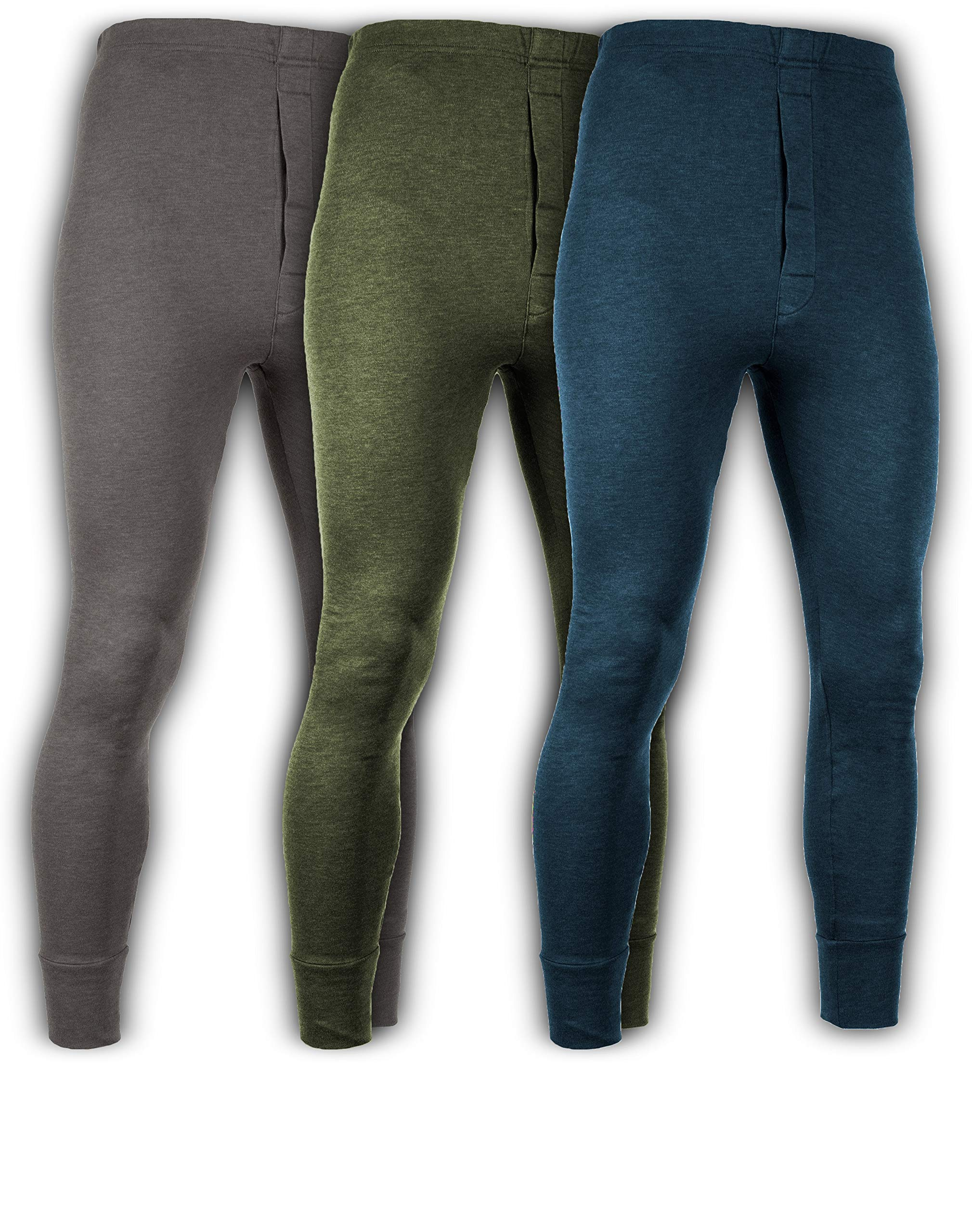 Andrew Scott Men's 3 Pack Premium Cotton Base Layer Long Thermal Underwear Pants (3 Pack- Charcoal/Olive/Legion Blue, XXX-Large) by Andrew Scott
