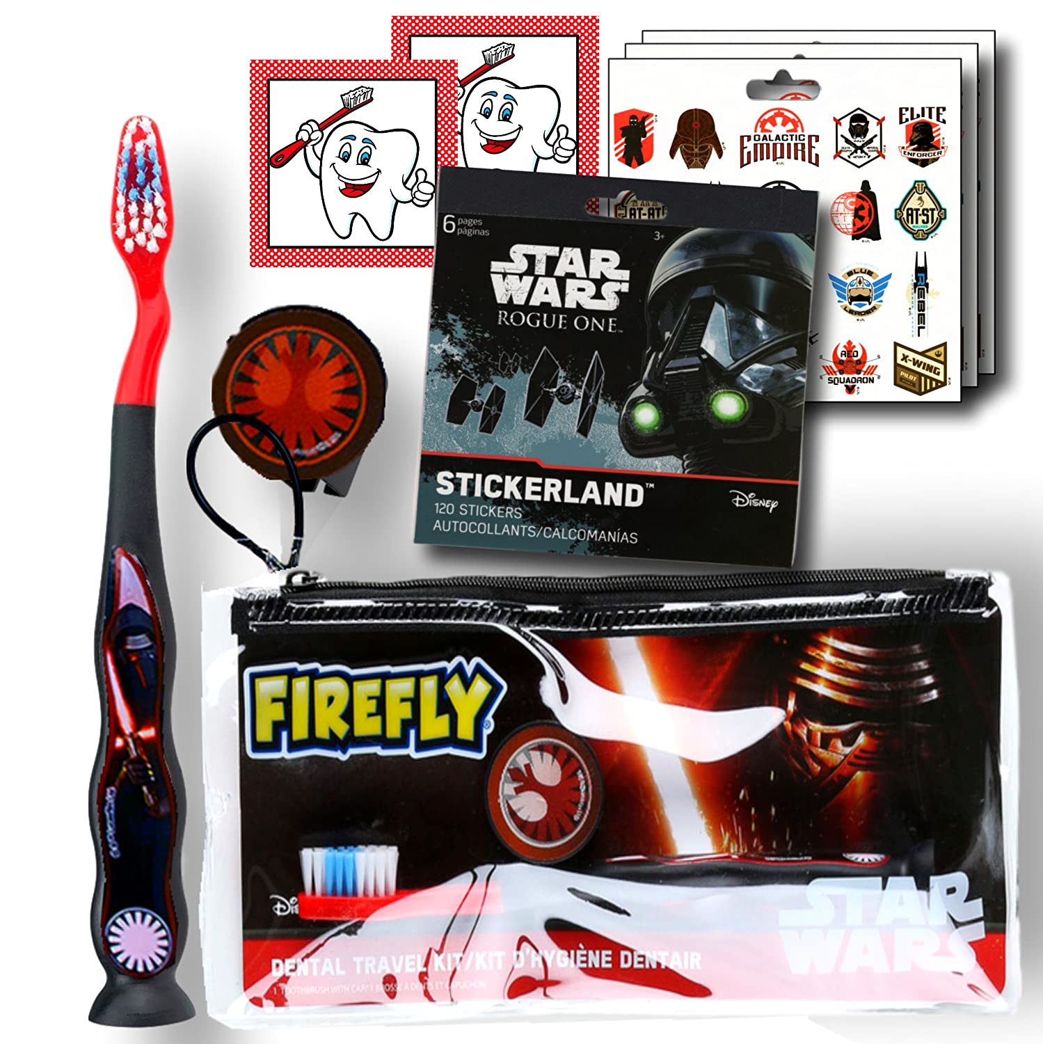 Character Children's Toothbrushes Bundle with Reward Stickers (Spiderman) Firefly Inc.