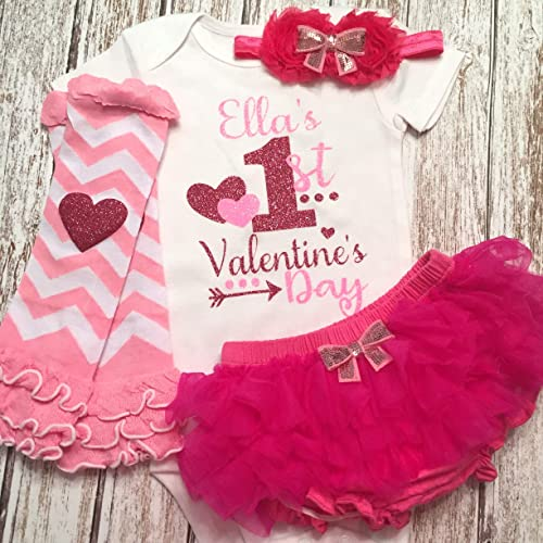 22f0789bd Amazon.com  Baby Girl First Valentine s Day Personalized Pink Outfit ...