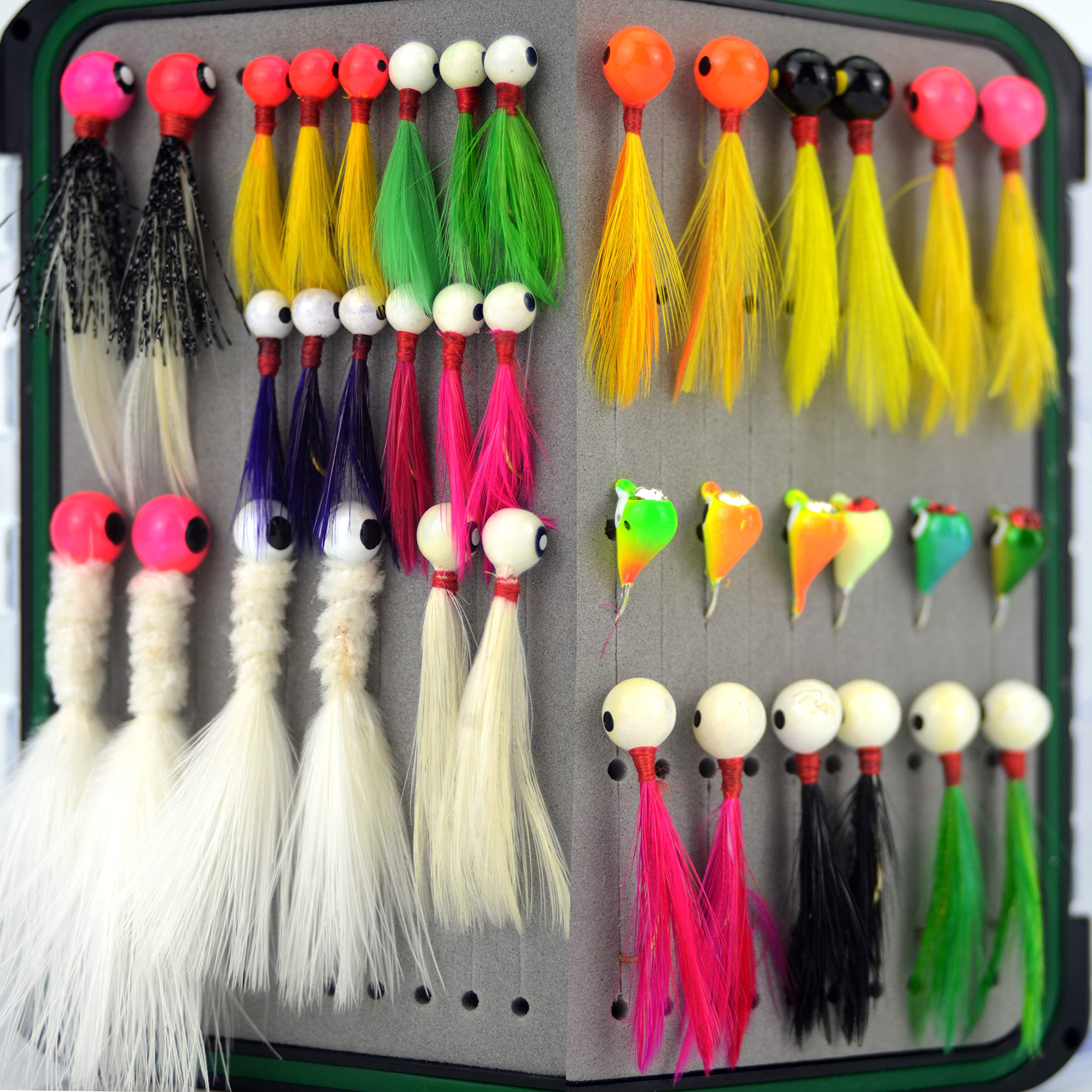 YAZHIDA Little Nipper jig 1/16-1/32oz Hand Tied Marabou Feather jig Fishing Lure kit for Panfish Sunfish Bluegil Perch Walleye Bass