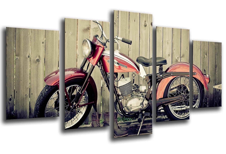 Ref Stampa in qualita Fotografica 165 x 62cm Quadro su Legno 26112 Harley Davidson Moto dEpoca