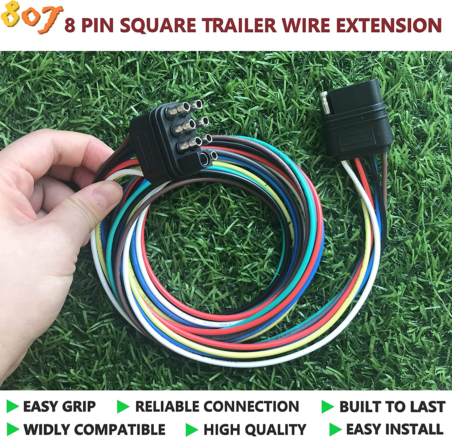 807 5-pin Trailer Wire Extension 36inch for LED Brake Tailgate Light Bars,Hitch Light Trailer Wiring Harness Extension Connector
