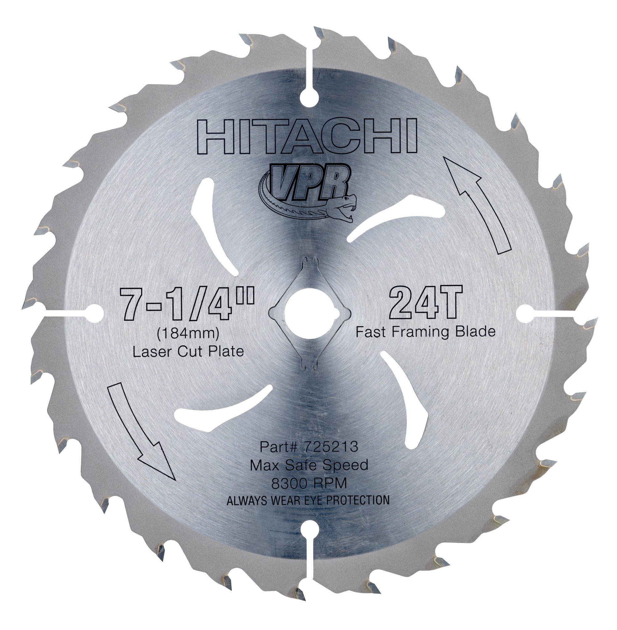 Hitachi 725213B10 24-Teeth Tungsten Carbide Tipped 7-1/4-Inch ATB VPR Saw Blade, 10-Pack