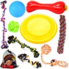 Large Puppy Dog Chew Toys 10 Value Pack , for Medium and Large Dogs - for Aggressive Chewers , 3 Dog Toys Natural Rubber (Dog Frisbee, Dog Toys Bone, Dog Ball) , 6 Dog Toys Rope, Youngever