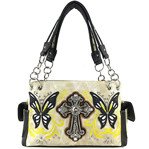 bbb9e2029f Justin West Floral Embroidery Butterfly Rhinestone Cross Stud Conceal Carry Handbag  Purse (Beige Handbag Only