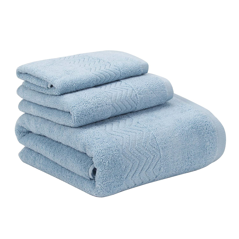 Topmail cotone spesso 3pezzi Set di asciugamani rapido assorbimento qualità telo da bagno Set di asciugamani ospite hotel, Brown Thick