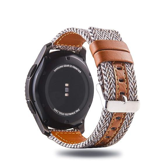 Amazon.com: Genuine Leather/Cotton Fabric Band Strap Stylish ...