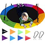 "Giant 40"" Saucer Tree Swing in Elite Rainbow - 400 lb Weight Capacity - Durable Steel Frame, Waterproof - Adjustable Ropes - Easy to Install - Bonus Flag Set and 2 Carabiners - Non-Stop Fun for Kids!"