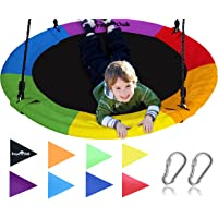 """Royal Oak Giant 40"""" Saucer Tree Swing with Bonus Carabiners, Cover and Flags, 700 lb Weight Capacity, Steel Frame, Waterproof, Easy to Install with Step by Step Instructions, Non-Stop Fun! (Rainbow)"""
