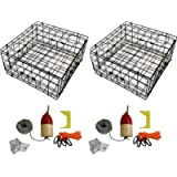 2-Pack of KUFA Vinyl Coated Crab Trap & Accessory kit (100' Lead Core Sinking line,Clipper,Harness,Bait Bag & 11' Float…