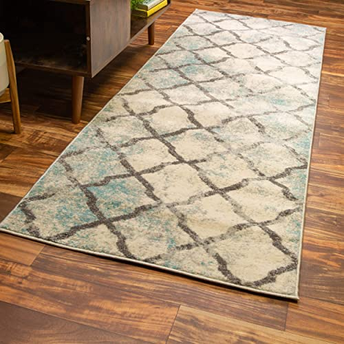 Super Area Rugs Distressed Updated Vintage Trellis Area Rug