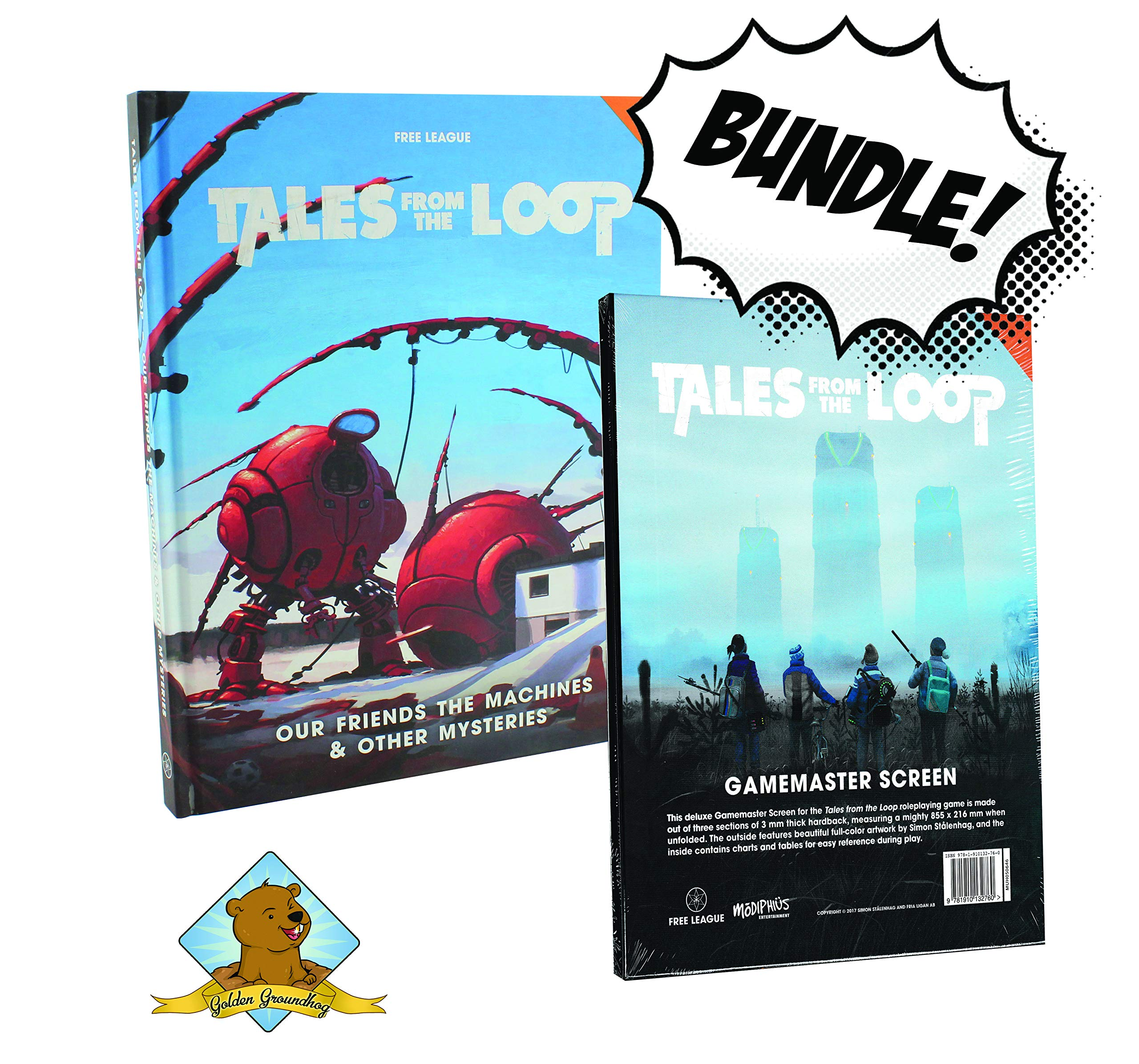 Tales from The Loop Our Friends The Machines & Other Mysteries and Gamemaster Screen Golden Groundhog Bundle