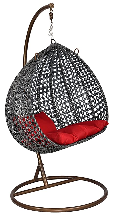 """FurniFutureâ""""¢ Mars Jumbo Outdoor Hanging Swing Chair with Stand - (Black with White Stripes)"""