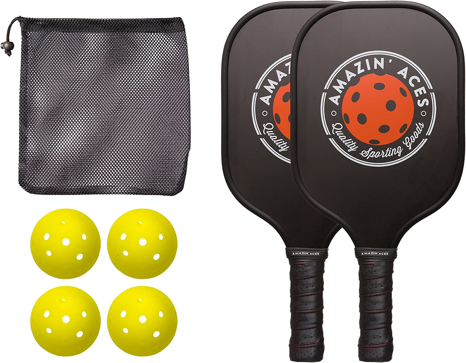 Amazin' Aces Pickleball Paddle Set | Pickleball Set Includes Two Graphite Pickleball Paddles + Four Balls + One Mesh Carry Bag | Premium Rackets Graphite Face & Polymer Honeycomb Core : Sports & Outdoors
