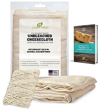Estopilla de algodón para quesos de LiveFresh, 50 pulgadas de hilo de cocina natural y