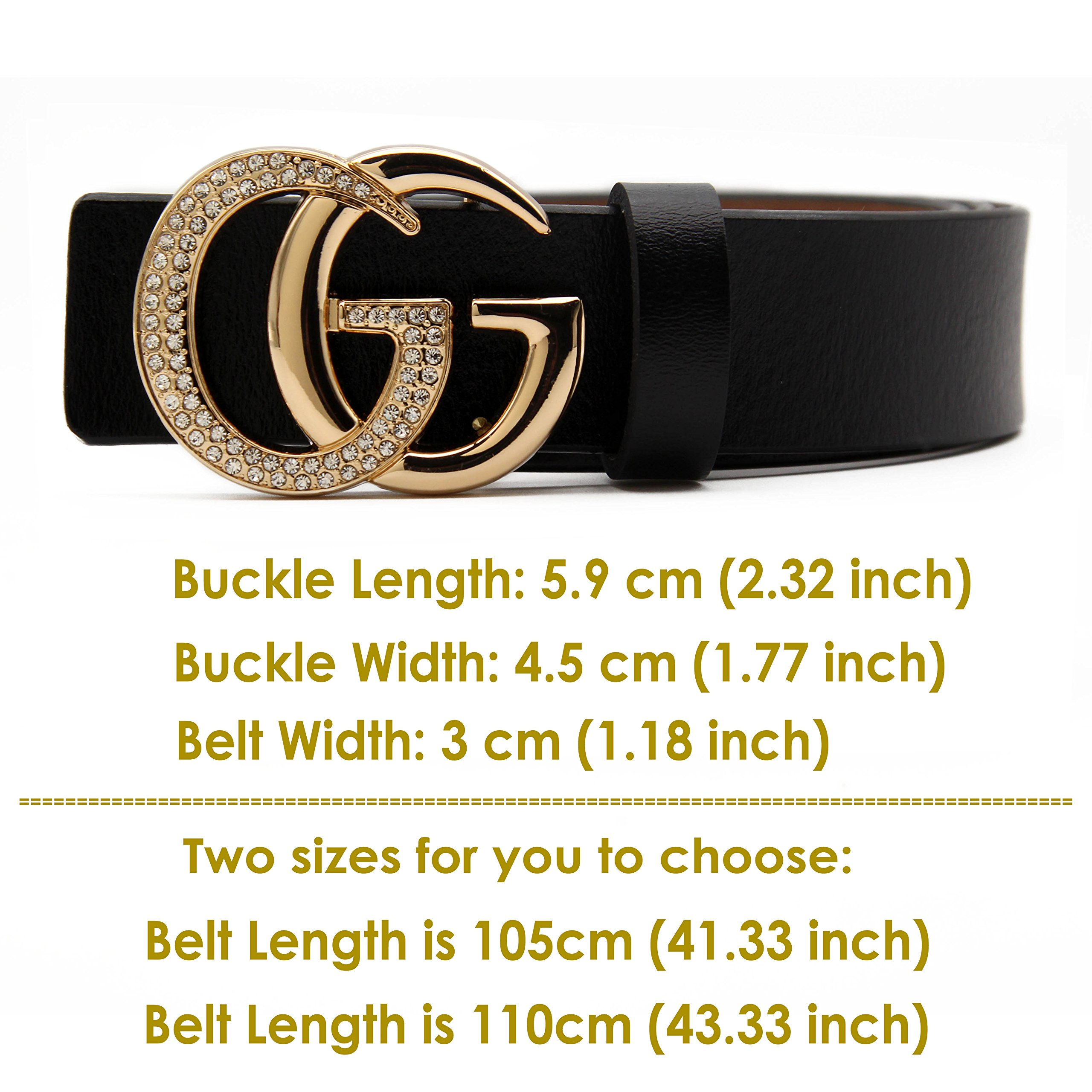 Women's Cowhide Leather Belt Gold Zircon Buckle for Pants Jeans Shorts Ladies Design Genuine Belts for GAGOTE (105cm/41.3'', pants size 26''-30'', Black) by GAGOTE (Image #6)