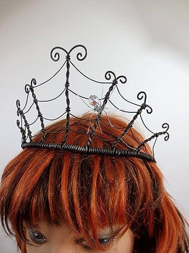 Phenomenal Amazon Com Spider Queen Spiderweb Tiara Crown With Crystal Spider Natural Hairstyles Runnerswayorg