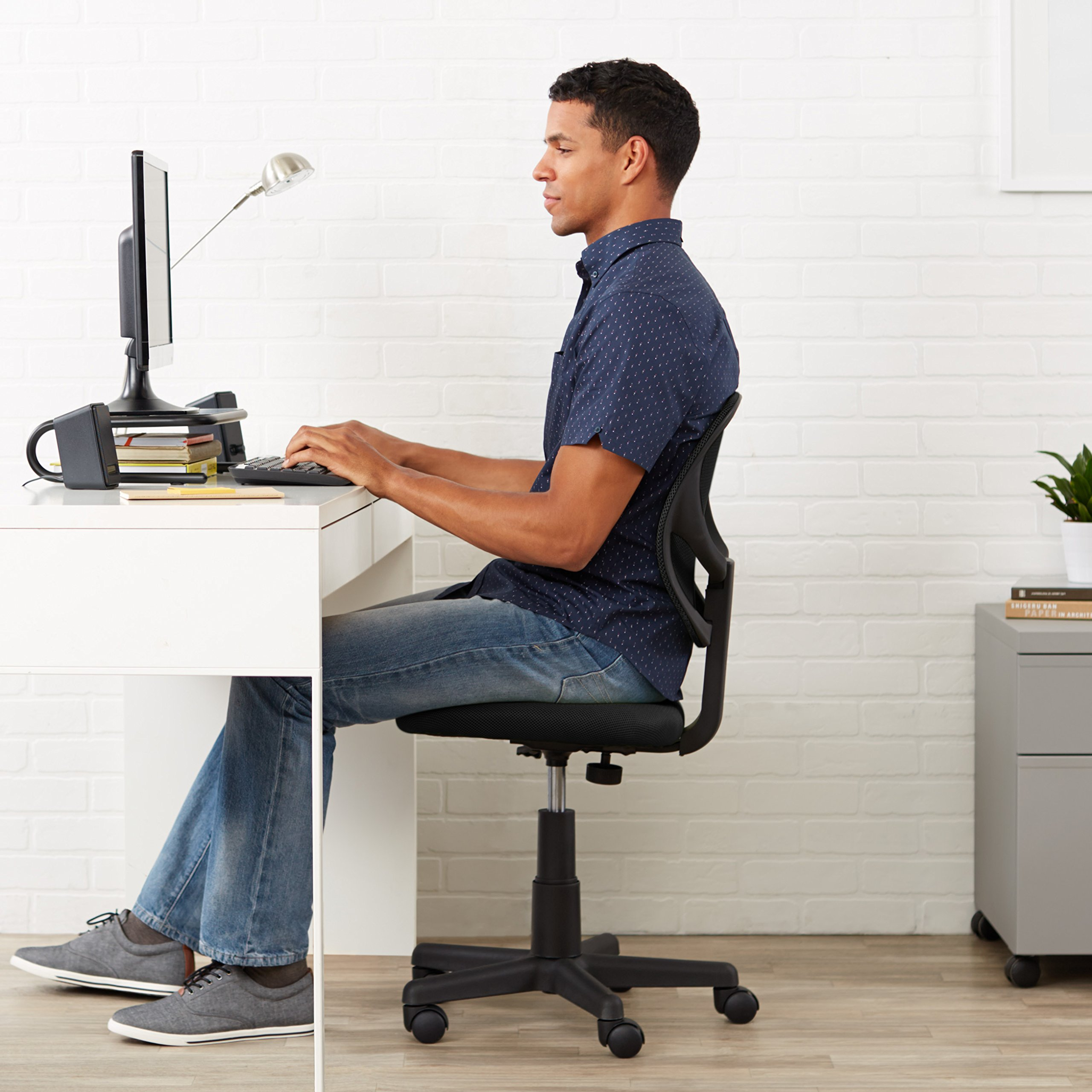 AmazonBasics Low-Back Computer Task/Desk Chair with Swivel Casters - Black by AmazonBasics (Image #2)