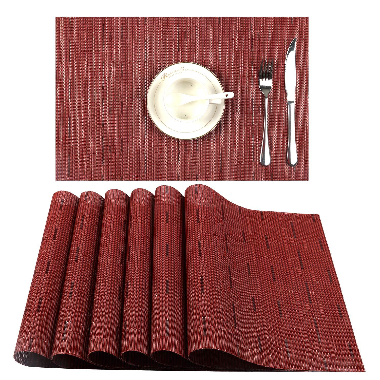 U'Artlines Placemat, Crossweave Woven Vinyl Non-Slip Insulation Placemat Washable Table Mats Set (6pcs placemats, B Wine Red)