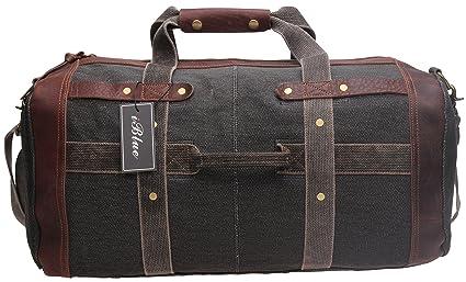 Weekender Travel Duffel Bags Sports Overnight Tote Luggage Canvas Leather  Trim Shoulder Handbag X-Large D-011 (XL, Dark Coffee)  Amazon.co.uk  Luggage 66cca9a346