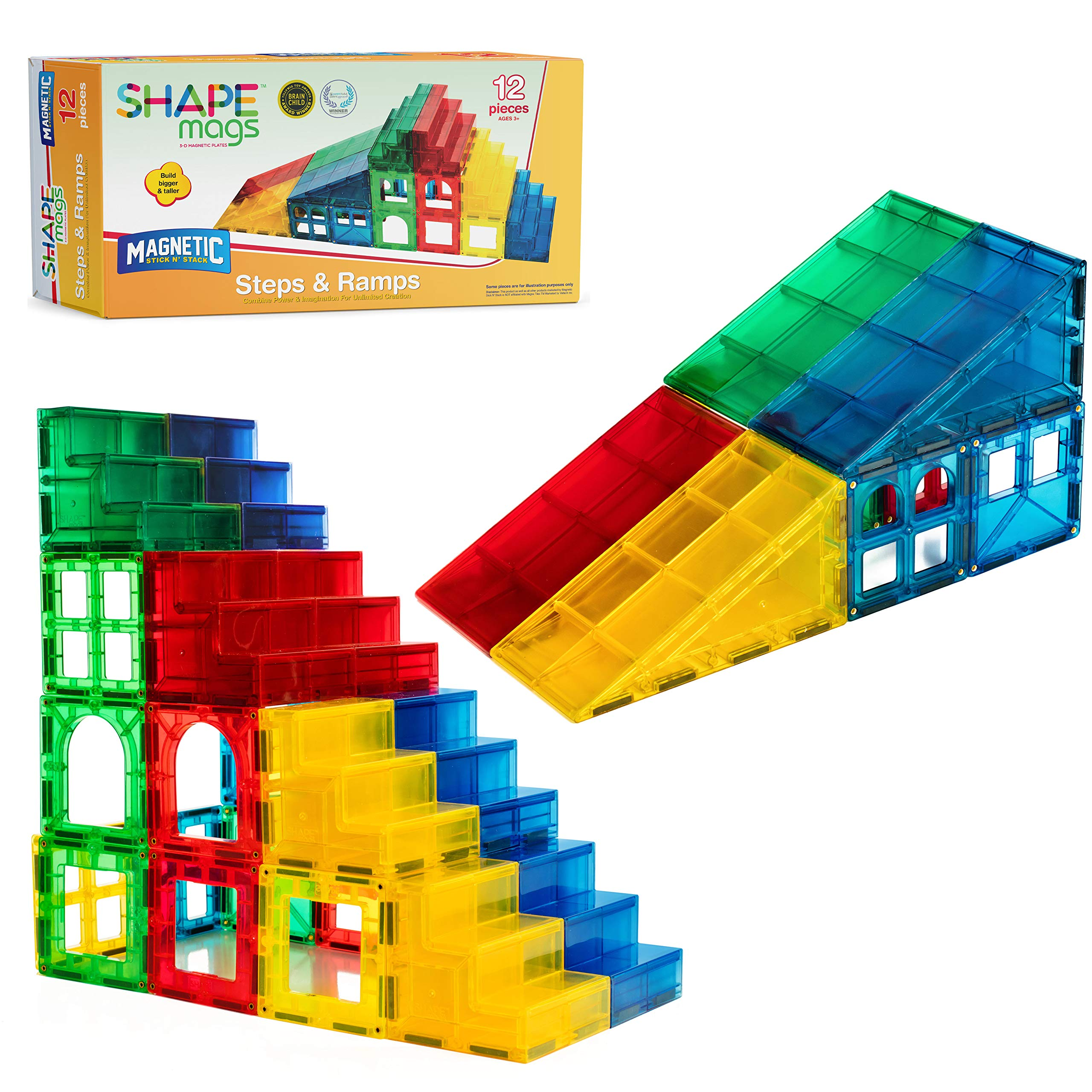 Magnetic Stick N Stack 12 Piece Steps & Ramps Set by Magnetic Stick N Stack