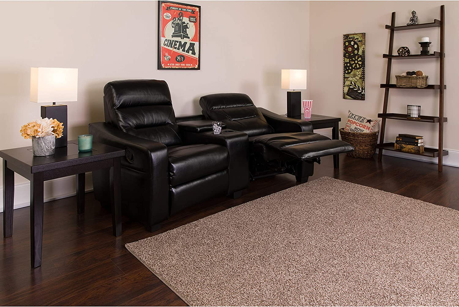 Flash Furniture Futura Series 2-Seat Reclining Black LeatherSoft Theater Seating Unit with Cup Holders: Furniture & Decor