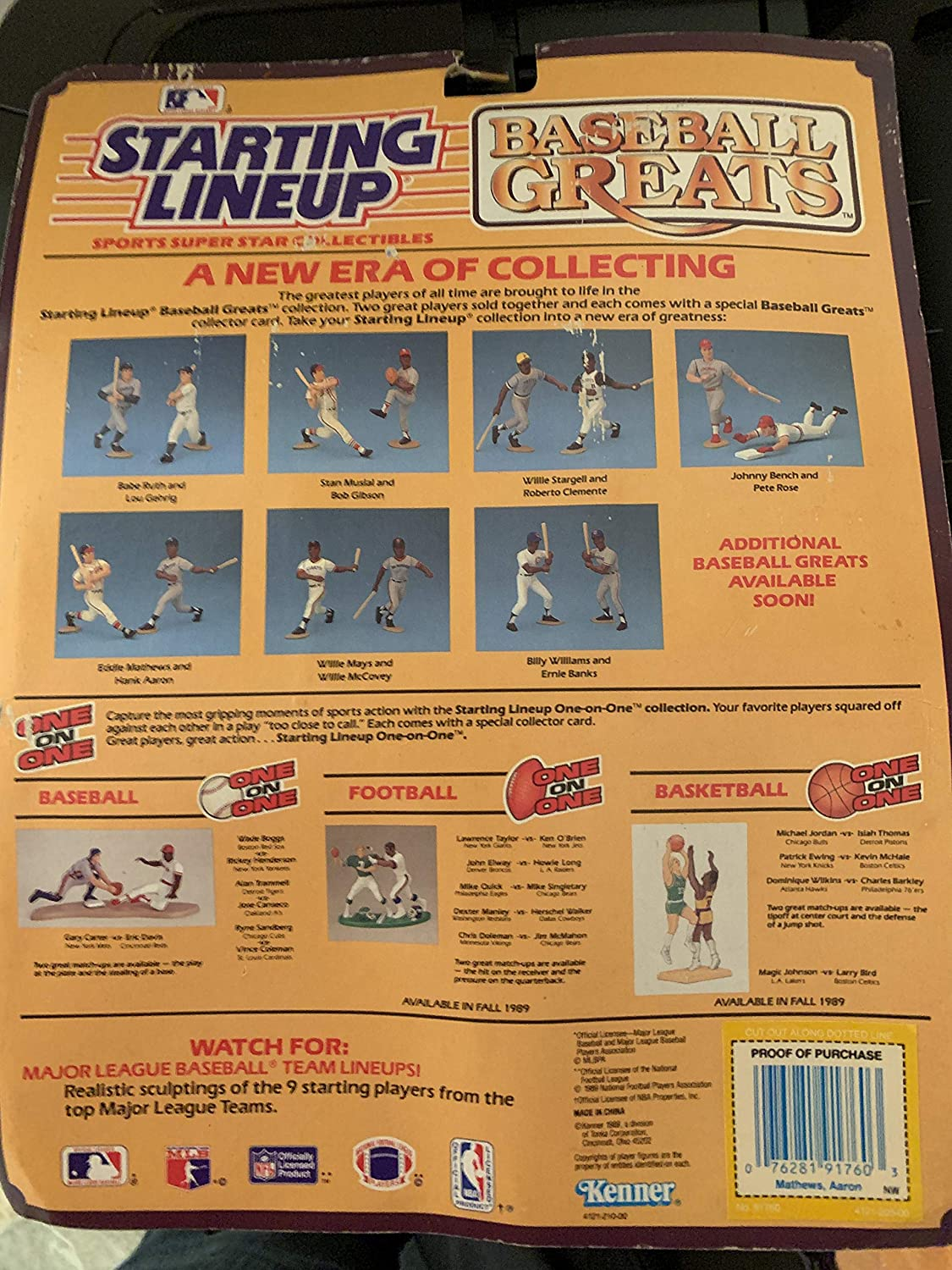 "1989  EDWIN MATHEWS Starting Lineup Card /""Baseball Greats/"" MILWAUKEE BRAVES"