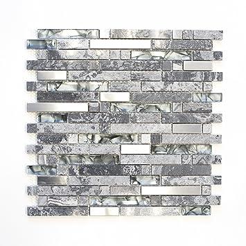 Fliesen Mosaik Mosaikfliese Grau Glas Stein Glänzend Küche Bad WC - Mosaik fliesen grau glänzend