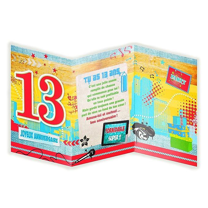 Afie 882115 Carte 3 Volets Joyeux Anniversaire 14 Ans Meilleurs