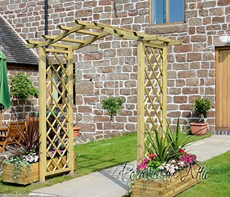 High Quality Santander Bow Curved Top Wooden Garden Arch Trellis Sides   Solid Timber  Treated Against Rot