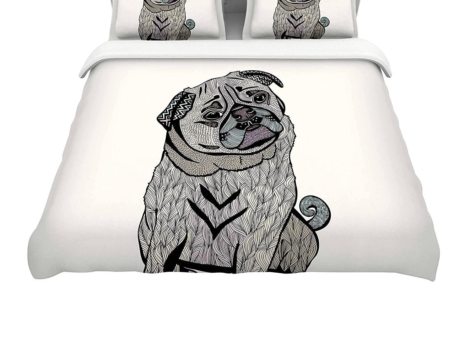 Kess InHouse Pom Graphic Design Ares The Pug Black Multicolor Queen Cotton Duvet Cover, 88-Inch